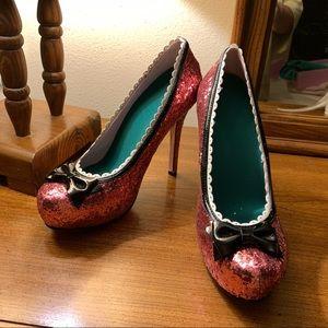 leg Avenue Shoes - Leg Avenue Pink Glitter Stiletto Pumps